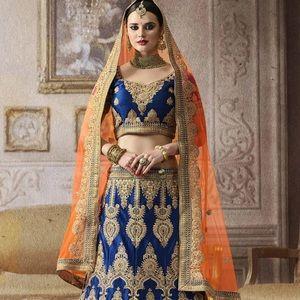Embroidered Satin Circular Lehenga in Dark Blue!!